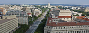 United States Capitol Prints - Pennsylvania Avenue Aerial - Washington DC Print by Brendan Reals
