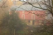 Barn Yard Prints - Pennsylvania German Barn in the Mist Print by Jay Ressler