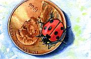 Penny Prints - Penny and Lady Bug Print by John D Benson