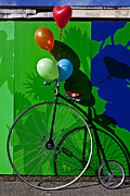 Ribbon Framed Prints - Penny Farthing and Balloons Framed Print by Garry Gay
