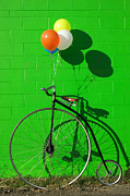 Balloons Posters - Penny farthing bike Poster by Garry Gay