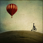 Hot-air Balloon Prints - Penny Farthing for Your Thoughts Print by Irene Suchocki
