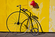 Wood Wheel Framed Prints - Penny Farthing Love Framed Print by Garry Gay
