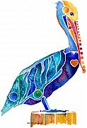 Blue Framed Prints - Penny Pelican Framed Print by Jo Lynch