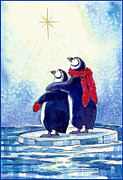 Christmas Star Posters - Penquins an Christmas Star Poster by Peggy Wilson
