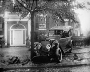 1920s Candid Framed Prints - Penrose Car Accident, Front View Framed Print by Everett