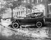 1920s Candid Framed Prints - Penrose Car Accident, Side View Framed Print by Everett