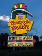 Gulf Breeze Posters - Pensacola Beach Sign at Sunset Poster by Jim Sweida