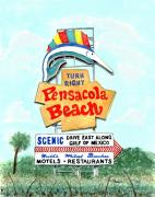 Pensacola Posters - Pensacola Beach Sign Poster by Richard Roselli