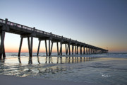 Pensacola Beach Posters - Pensacola Pier at Sunrise Poster by Richard Roselli