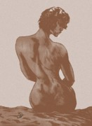 Shoulder Drawings Prints - Pensive dark Print by Eric Armstrong