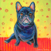 Acrylic Dog Paintings - Pensive French bulldog painting prints by Svetlana Novikova