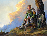 Game Painting Prints - Pensive Knight Print by Storn Cook