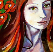 Hand-painted Portraits Paintings - Pensive Lady by Helena Wierzbicki