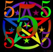 Archetypal Digital Art Prints - Penta Pentacle in Black Print by Eric Edelman