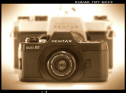 Sepia Digital Art - Pentax 110 Auto by Mike McGlothlen