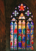 Cathedral Posters - Pentecost window - St. Vitus Cathedral Prague Poster by Christine Till