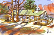 Watercolor Resort Posters - Penuel Lodge in Winter Sunlight Poster by Kip DeVore