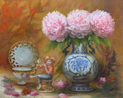 Porcelain Paintings - Peonies and Porcelain by Loretta Fasan