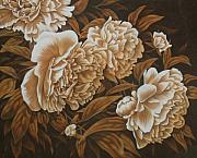 Flowers Pastels Prints - Peonies in Sepia Print by Karen Coombes