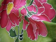 Pink Tapestries - Textiles - Peonies in the Garden by Joanna White