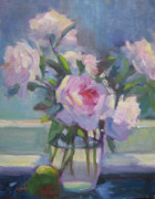 Kitchen Window Paintings - Peonies in the Window by Susan Novak