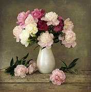 Textured Vase Framed Prints - Peonies In Vase Framed Print by Sergey Ryumin