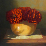 Still Life Prints Paintings - Peonies by Linda Jacobus