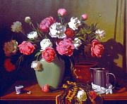 Pewter Paintings - Peonies  Pewter and Copper by David Olander