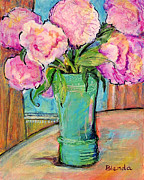 Impressionist Vase Floral Paintings - Peony Bouquet in a Window by Blenda Studio