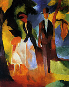 Macke Framed Prints - People at the Lake Framed Print by Stefan Kuhn