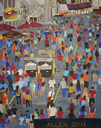 Crowds Painting Originals - People by Cassandra Allen