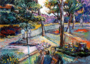 Scenic Pastels Posters - People In Landscape Poster by Stan Esson