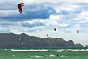 Kiteboarding Art - People Kiteboarding Along Coast by Cavan Images