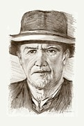 Western Pencil Drawings Posters - People of Old West a pencil drawing in black and white  Poster by Mario  Perez
