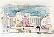 New York Drawings Metal Prints - People on Benches Metal Print by Linda Berkowitz
