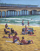 Crowd Scene Paintings - people on Bournemouth beach Boys looking by Martin Davey