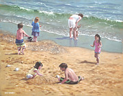 Crowd Scene Paintings - people on Bournemouth beach kids in sand by Martin Davey