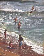 Crowd Scene Paintings - People On Bournemouth Beach Waves And People by Martin Davey