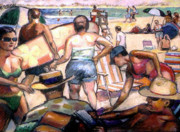 Ocean Shore Pastels Prints - People On The Beach Print by Stan Esson