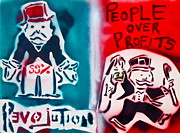 99 Percent Paintings - People over profits by Tony B Conscious