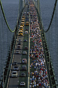 Mackinac Bridge Prints - People Participating In The Annual Print by Phil Schermeister