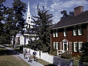 American Colonial Architecture Posters - People Pass Typical New England Poster by B. Anthony Stewart