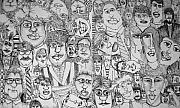 Faces Drawings Posters - People People People Poster by Michelle Calkins