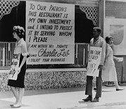Race Discrimination Prints - People Picketing Outside An Atlanta Print by Everett