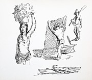 Basket Head Prints - People Sketches Print by Bill Joseph  Markowski