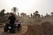 45 Framed Prints - People speeding on ATV in desert Framed Print by Sami Sarkis