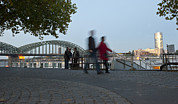 River Rhine Prints - People Walk Along The Rhine River Print by Greg Dale