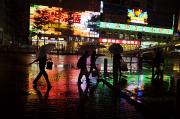 Cycling Framed Prints - People Walking In Shenzhen On A Rainy Framed Print by Randy Olson