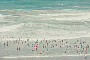 Vacations Prints - People Walking Into Ocean Print by Cindy Prins